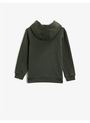 Koton Baskili Kapüsonlu Uzun Kollu Sweatshirt Yeşil